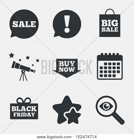 Sale speech bubble icons. Buy now arrow symbols. Black friday gift box signs. Big sale shopping bag. Attention, investigate and stars icons. Telescope and calendar signs. Vector