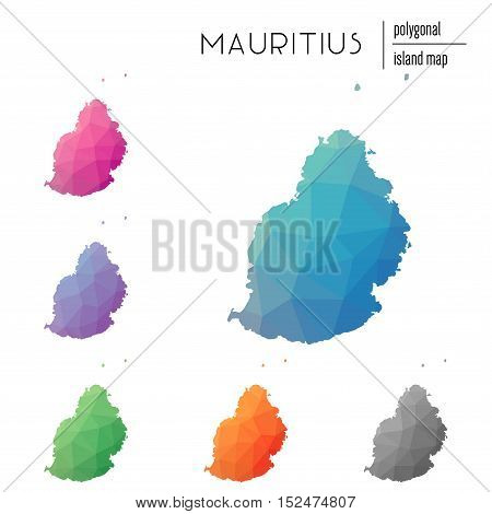 Set Of Vector Polygonal Mauritius Maps Filled With Bright Gradient Of Low Poly Art. Multicolored Isl