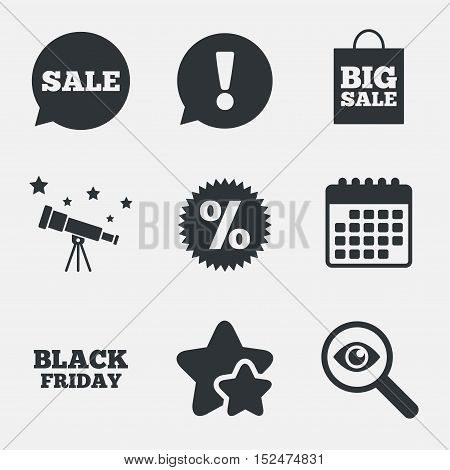 Sale speech bubble icon. Discount star symbol. Black friday sign. Big sale shopping bag. Attention, investigate and stars icons. Telescope and calendar signs. Vector