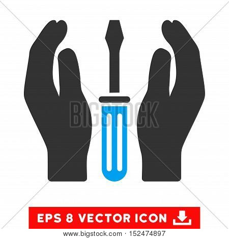 Tuning Screwdriver Care Hands EPS vector icon. Illustration style is flat iconic bicolor blue and gray symbol on white background.