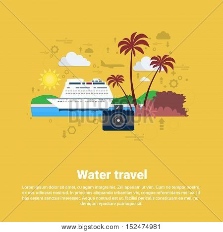 Water Travel Cruise Tourism Web Banner Flat Vector Illustration