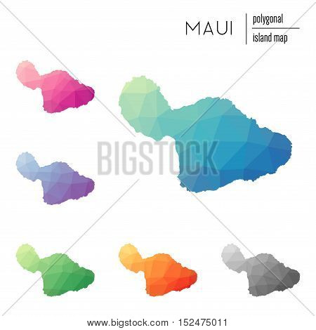 Set Of Vector Polygonal Maui Maps Filled With Bright Gradient Of Low Poly Art. Multicolored Island O