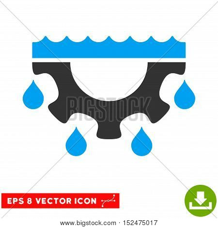 Water Gear Drops EPS vector pictograph. Illustration style is flat iconic bicolor blue and gray symbol on white background.