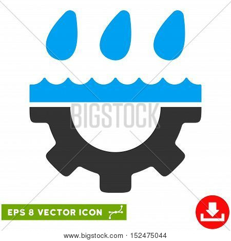 Water Gear Drops EPS vector icon. Illustration style is flat iconic bicolor blue and gray symbol on white background.