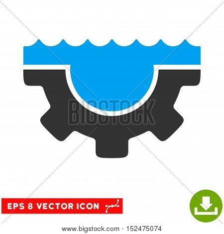 Water Service Gear EPS vector pictograph. Illustration style is flat iconic bicolor blue and gray symbol on white background.