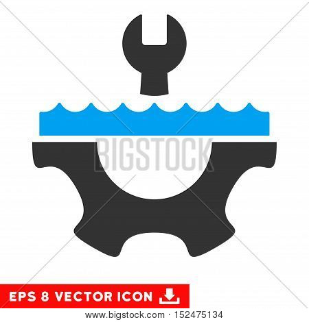 Water Service Gear EPS vector icon. Illustration style is flat iconic bicolor blue and gray symbol on white background.