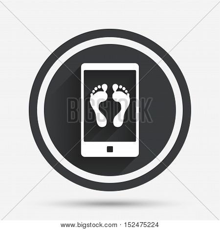 Selfie legs sign icon. Self feet photo on smartphone symbol. Circle flat button with shadow and border. Vector