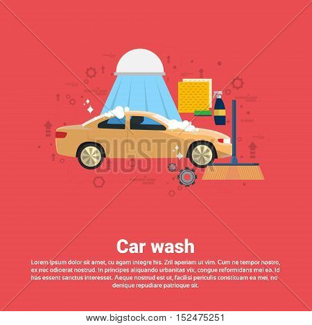 Car Wash Service Auto Business Web Banner Flat Vector Illustration