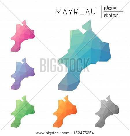 Set Of Vector Polygonal Mayreau Maps Filled With Bright Gradient Of Low Poly Art. Multicolored Islan