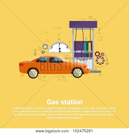 Gas Petrol Station Automobile Service Web Banner Flat Vector Illustration