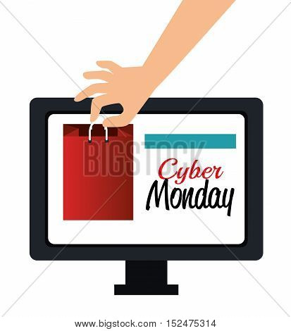 hand shop gift computer cyber monday vector illustration eps 10