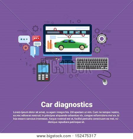 Car Computer Diagnostics Service Auto Mechanics Business Web Banner Flat Vector Illustration
