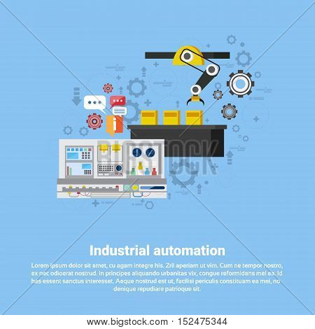 Industrial Automation Industry Production Web Banner Flat Vector Illustration