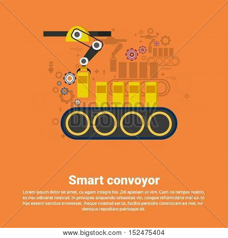 Smart Conveyor Industrial Automation Industry Production Web Banner Flat Vector Illustration