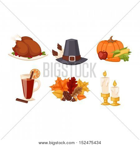 Thanksgiving icons vector set