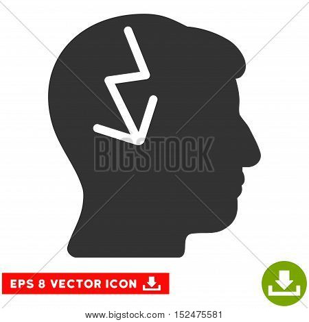 Brain Electric Strike EPS vector icon. Illustration style is flat iconic gray symbol on white background.