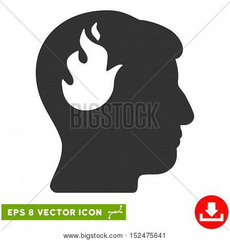 Brain Fire EPS vector icon. Illustration style is flat iconic gray symbol on white background.