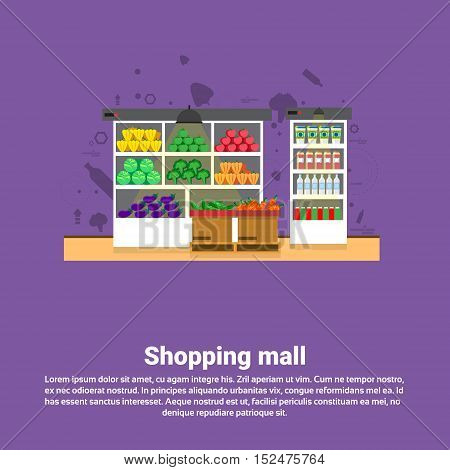 Shopping Mall Retail Store Online Commerce Web Banner Flat Vector Illustration
