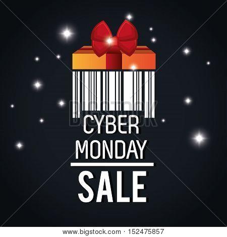 cyber monday sale barcode light black background vector illustration eps 10