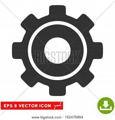 Cog EPS vector icon. Illustration style is flat iconic gray symbol on white background.
