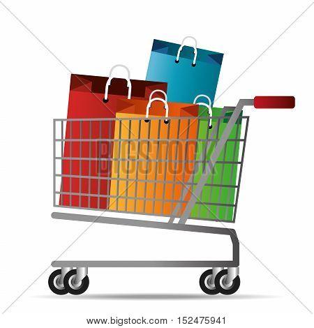 shopping cart bag gift icon vector illustration eps 10