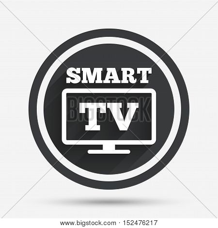 Widescreen Smart TV sign icon. Television set symbol. Circle flat button with shadow and border. Vector