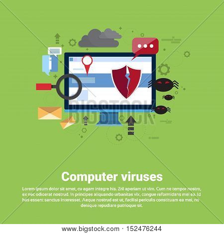 Computer Viruses Data Protection Privacy Internet Information Security Web Banner Flat Vector illustration