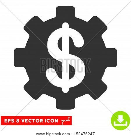 Development Cost EPS vector pictograph. Illustration style is flat iconic gray symbol on white background.