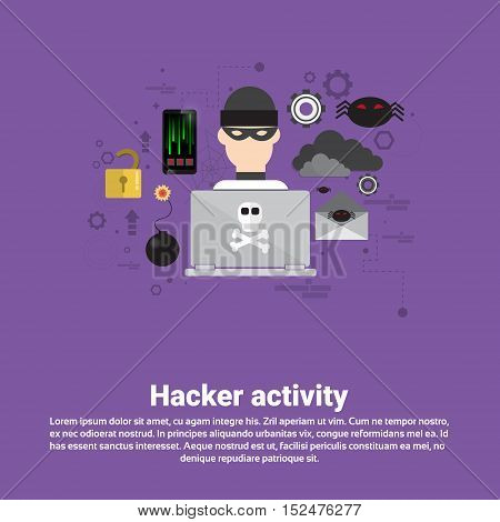Hacker Activity Data Protection Privacy Internet Information Security Web Banner Flat Vector illustration