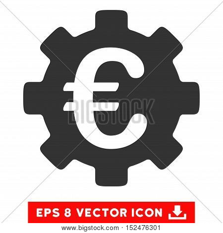 Euro Development Gear EPS vector icon. Illustration style is flat iconic gray symbol on white background.