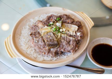 Chinese Steamed Pork With Salted Fish Rice In Claypot