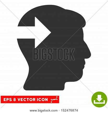 Head Plug-In Arrow EPS vector pictograph. Illustration style is flat iconic gray symbol on white background.