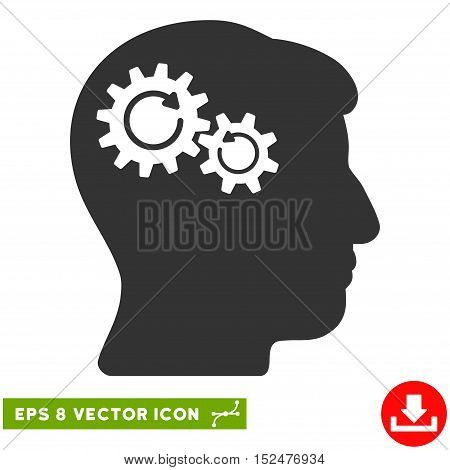 Head Wheels Rotation EPS vector icon. Illustration style is flat iconic gray symbol on white background.