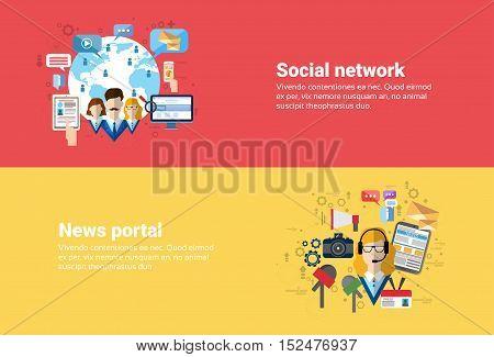 Social Media Network Internet Connection Communication, News Portal Application Web Banner Flat Vector Illustration