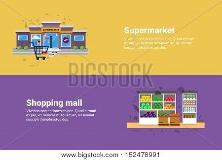 Supermarket Shopping Mall Retail Store Online Commerce Web Banner Flat Vector Illustration