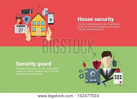 Guard Home Security Protection Insurance Web Banner Flat Vector Illustration