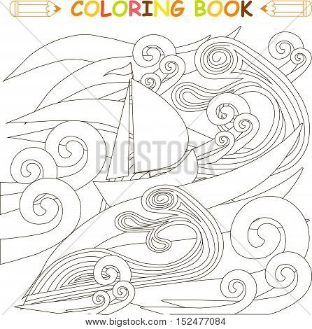 Ship in storm in the ocean, coloring page vector illustration