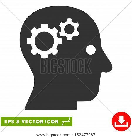 Intellect Gears EPS vector icon. Illustration style is flat iconic gray symbol on white background.