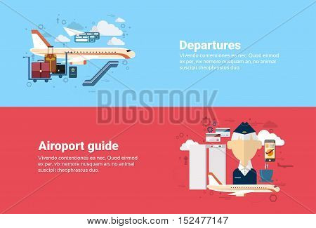 Airport Guide Departure Airplane Transportation Air Tourism Web Banner Flat Vector Illustration