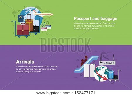 Arrivals Passport Luggage Airplane Departure Transportation Air Tourism Web Banner Flat Vector Illustration
