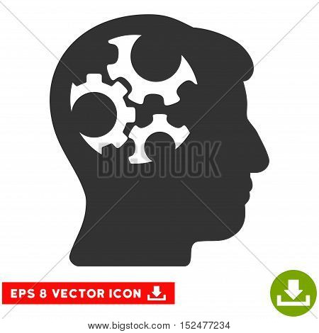 Mind Gears EPS vector pictograph. Illustration style is flat iconic gray symbol on white background.