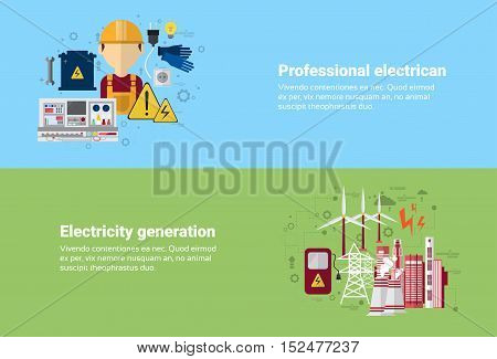 Professional Electrican Electricity Generation Station Industry Web Banner Flat Vector illustration