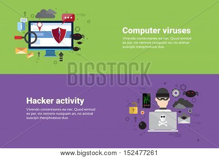 Hacker Activity Computer Viruses Data Protection Privacy Internet Information Security Web Banner Flat Vector illustration