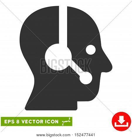 Operator EPS vector icon. Illustration style is flat iconic gray symbol on white background.