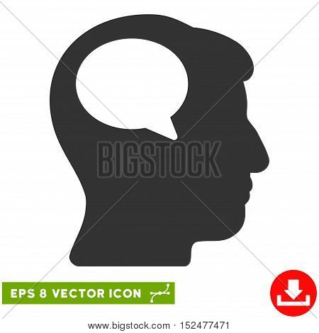 Person Thinking EPS vector pictograph. Illustration style is flat iconic gray symbol on white background.