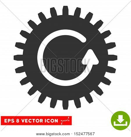 Rotate Cog EPS vector pictograph. Illustration style is flat iconic gray symbol on white background.