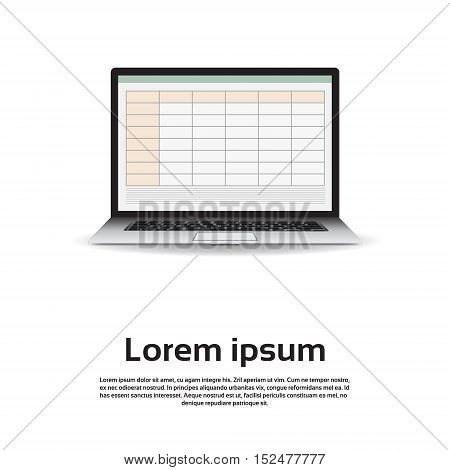 Laptop Computer Monitor Empty Table Infographic Vector Illustration
