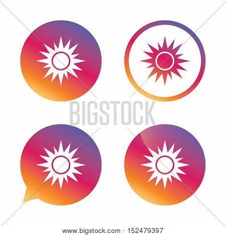 Sun sign icon. Solarium symbol. Heat button. Gradient buttons with flat icon. Speech bubble sign. Vector