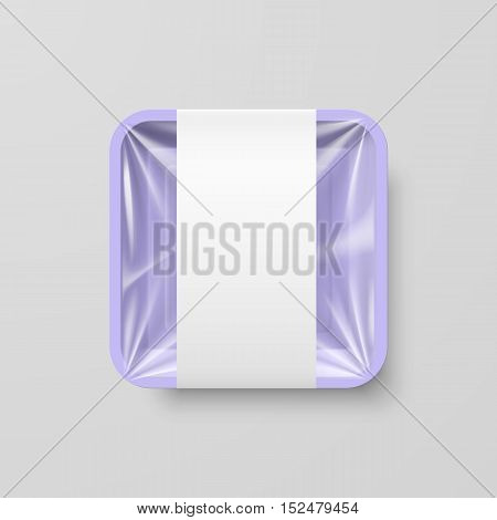 Empty Purple Plastic Food Square Container with Label on Gray Background