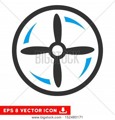 Drone Screw Rotation EPS vector pictograph. Illustration style is flat iconic bicolor blue and gray symbol on white background.